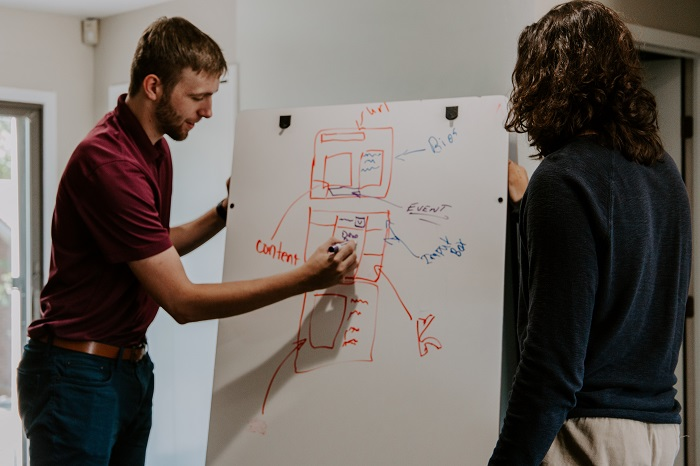 man drawing on dry-erase board showing presentation structure