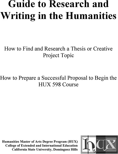 research and writing in the Humanities