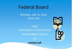 Read more about the article Orientation Ceremony for Intermediate Classes at campus.pk